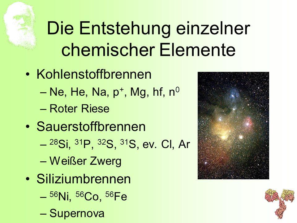 Die Entstehung einzelner chemischer Elemente