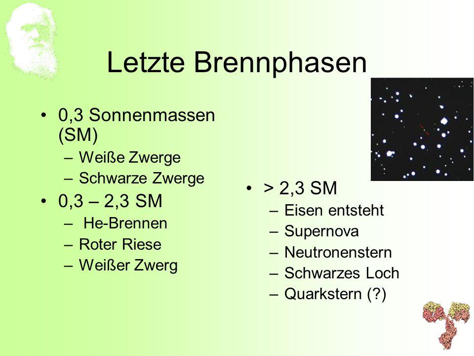 Letzte Brennphasen 0,3 Sonnenmassen (SM) > 2,3 SM 0,3 – 2,3 SM