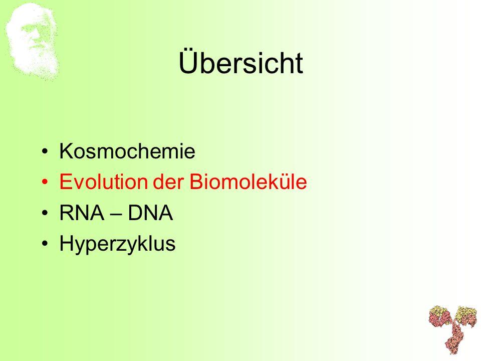 Übersicht Kosmochemie Evolution der Biomoleküle RNA – DNA Hyperzyklus