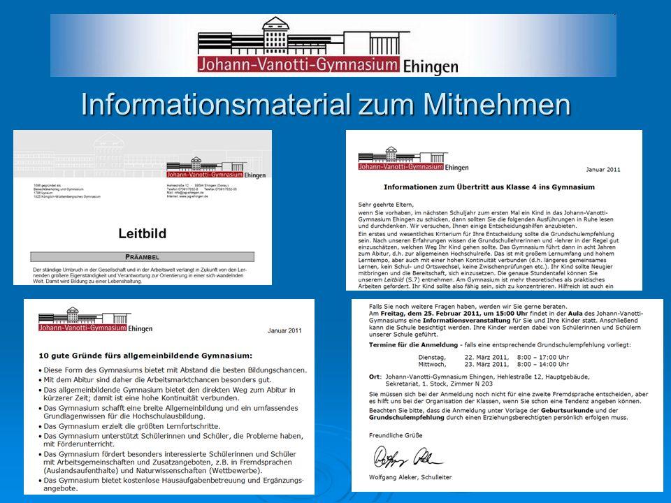Informationsmaterial zum Mitnehmen