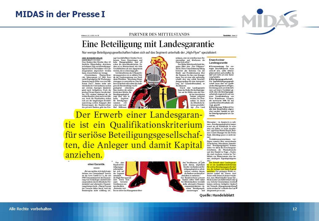 MIDAS in der Presse I Quelle: Handelsblatt Alle Rechte vorbehalten
