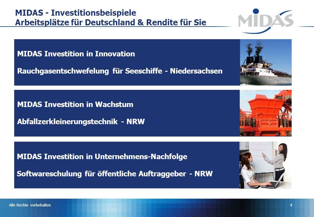 MIDAS - Investitionsbeispiele Arbeitsplätze für Deutschland & Rendite für Sie
