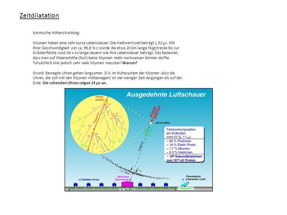 Zeitdilatation Kosmische Höhenstrahlung: