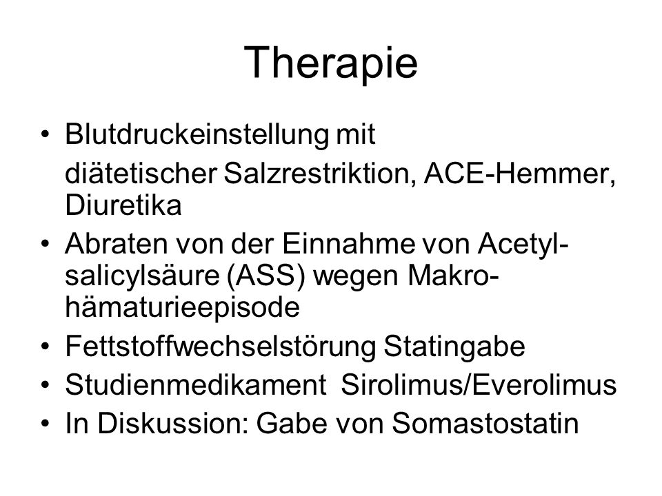Therapie Blutdruckeinstellung mit