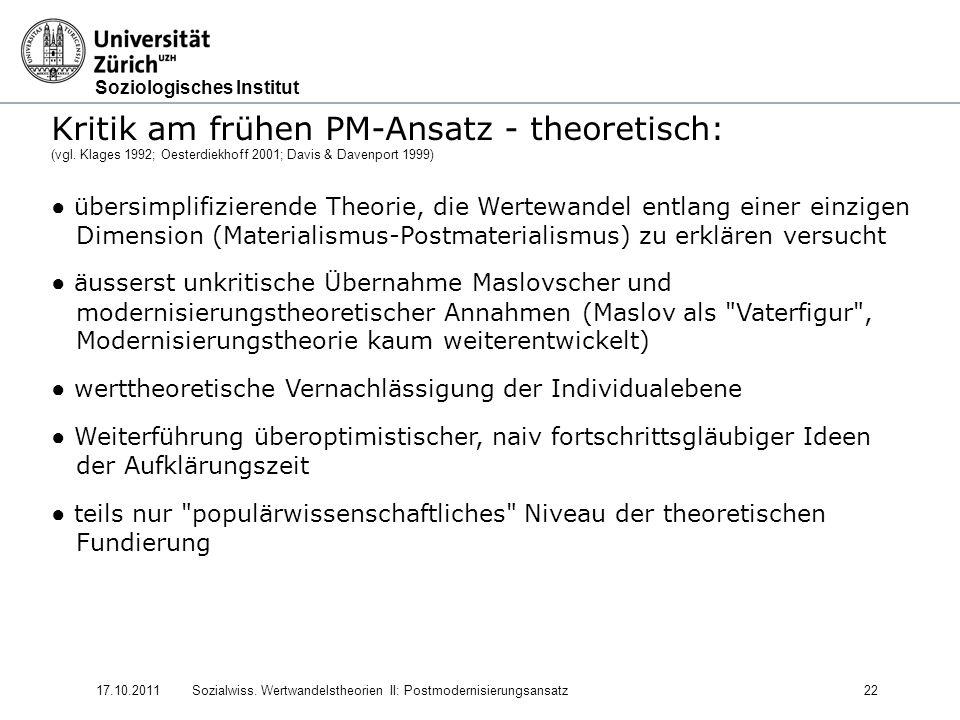Kritik am frühen PM-Ansatz - theoretisch: