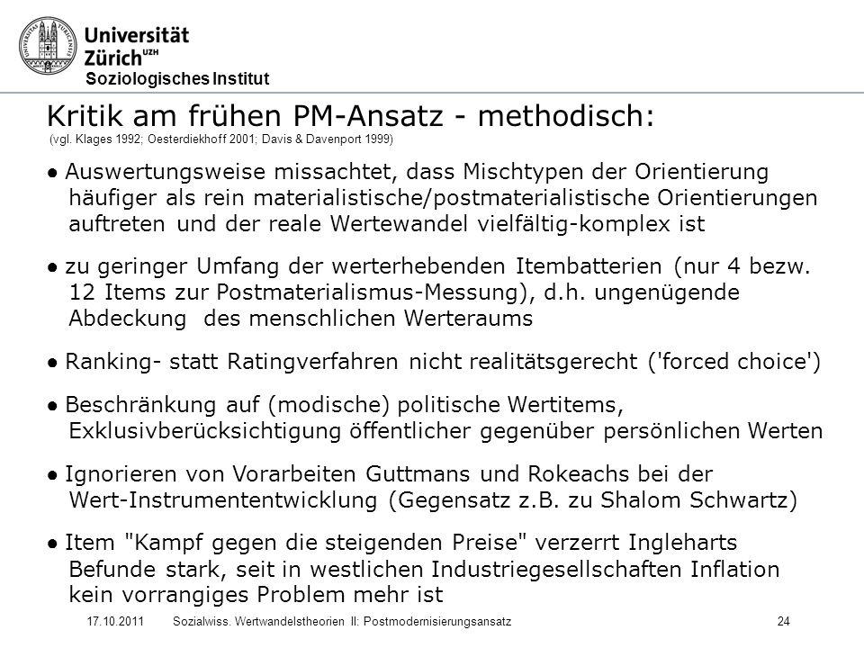 Kritik am frühen PM-Ansatz - methodisch: