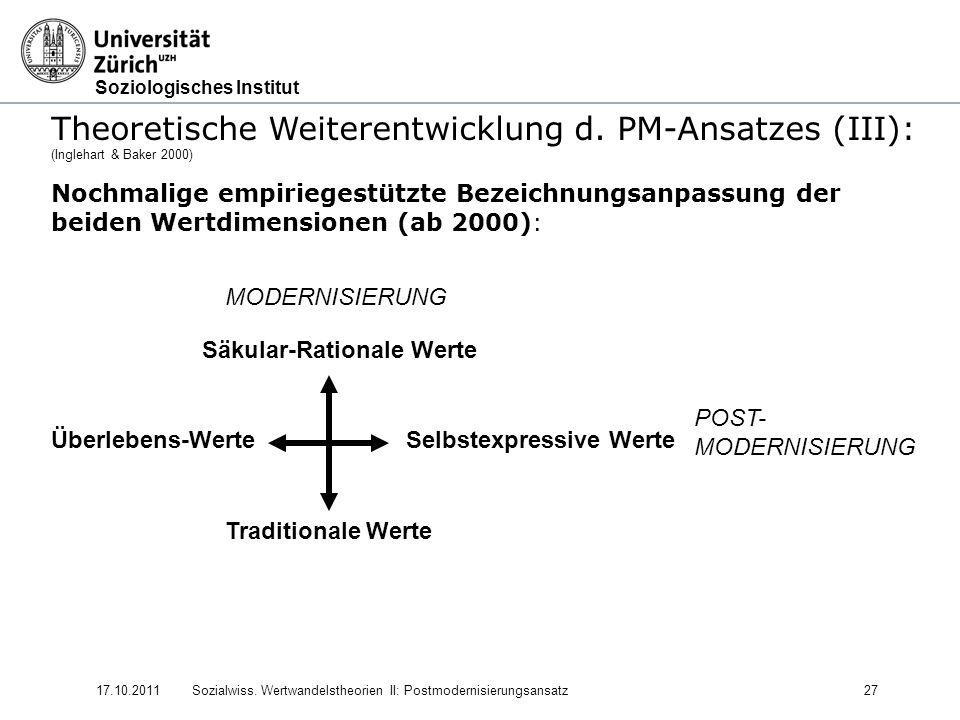 Theoretische Weiterentwicklung d. PM-Ansatzes (III):