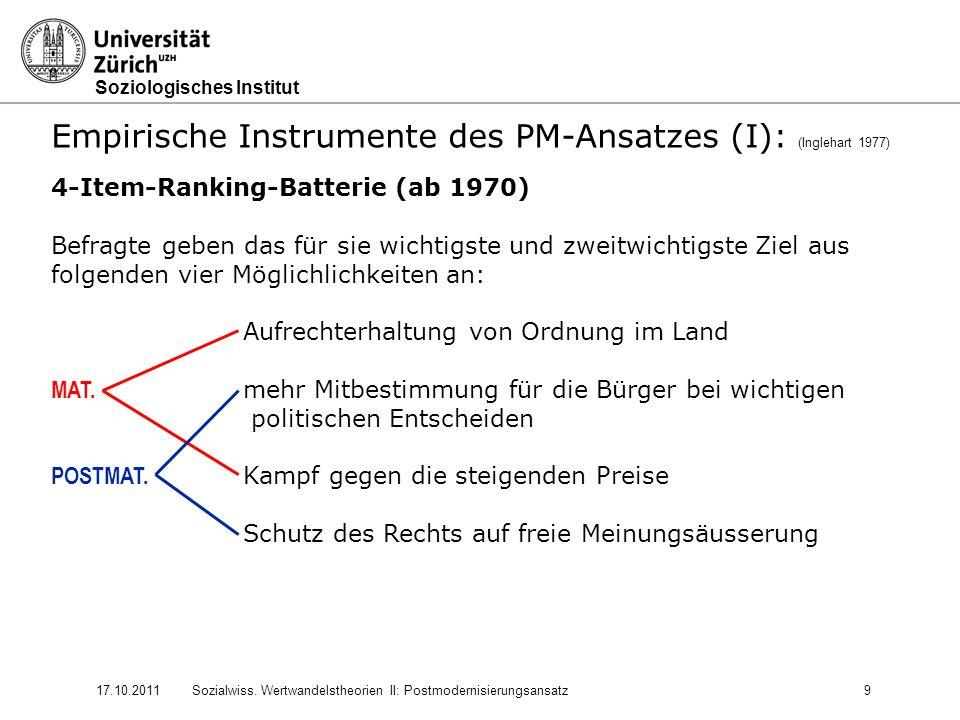 Empirische Instrumente des PM-Ansatzes (I): (Inglehart 1977)