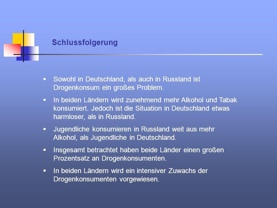 Schlussfolgerung Sowohl in Deutschland, als auch in Russland ist Drogenkonsum ein großes Problem.