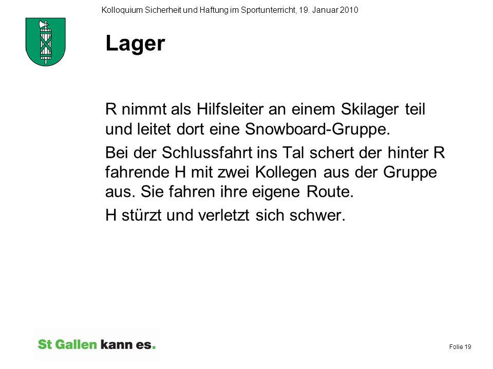 Lager R nimmt als Hilfsleiter an einem Skilager teil und leitet dort eine Snowboard-Gruppe.