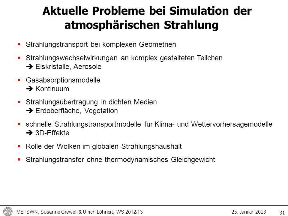 Aktuelle Probleme bei Simulation der atmosphärischen Strahlung
