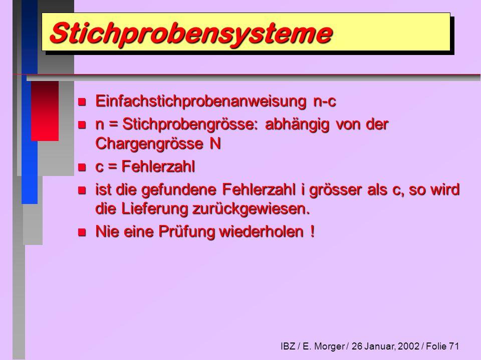 Stichprobensysteme Einfachstichprobenanweisung n-c