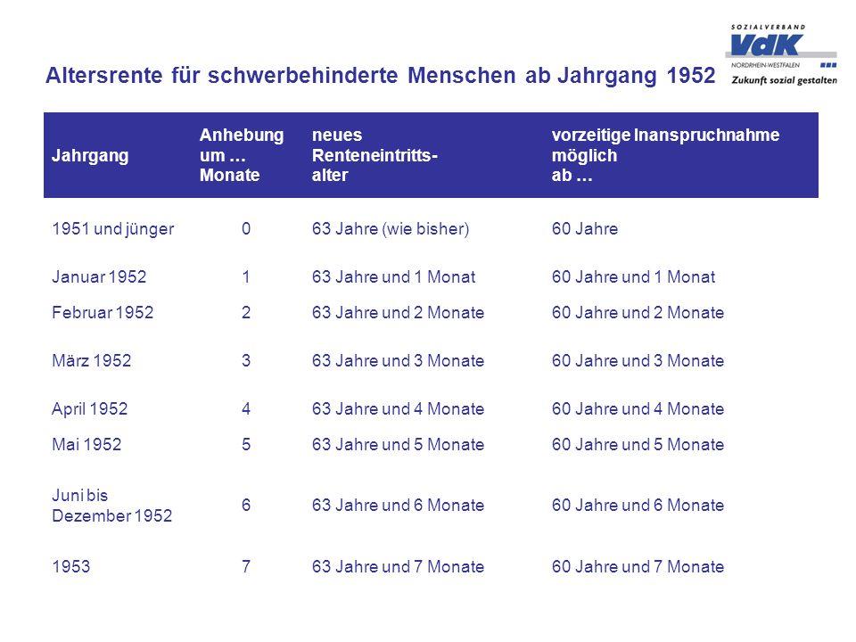 Altersrente für schwerbehinderte Menschen ab Jahrgang 1952