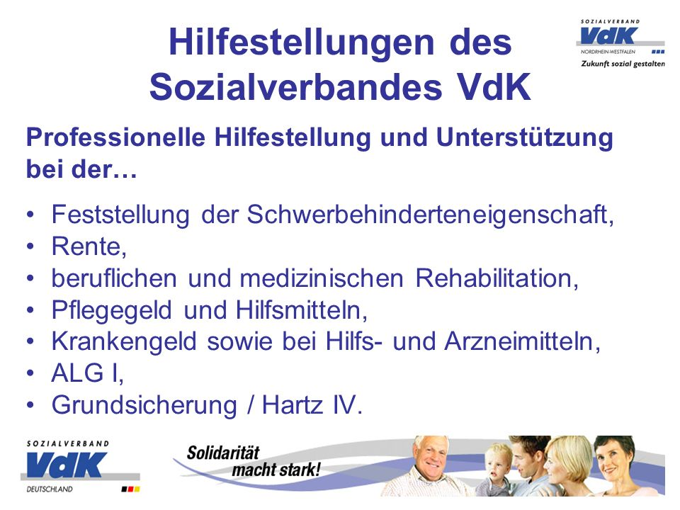 Hilfestellungen des Sozialverbandes VdK