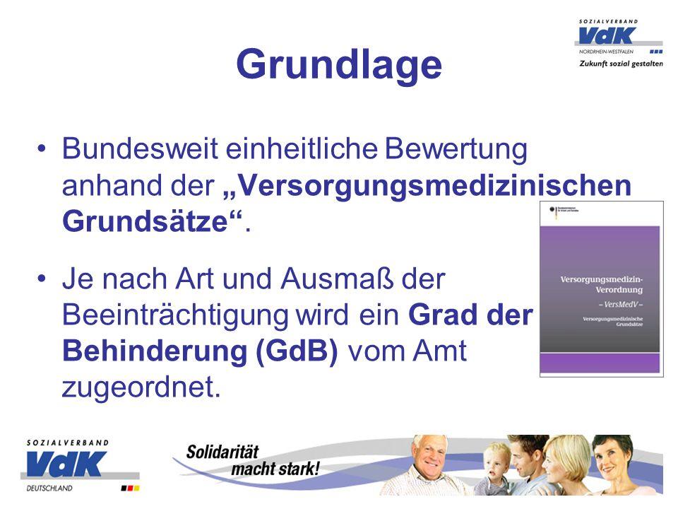 """Grundlage Bundesweit einheitliche Bewertung anhand der """"Versorgungsmedizinischen Grundsätze ."""