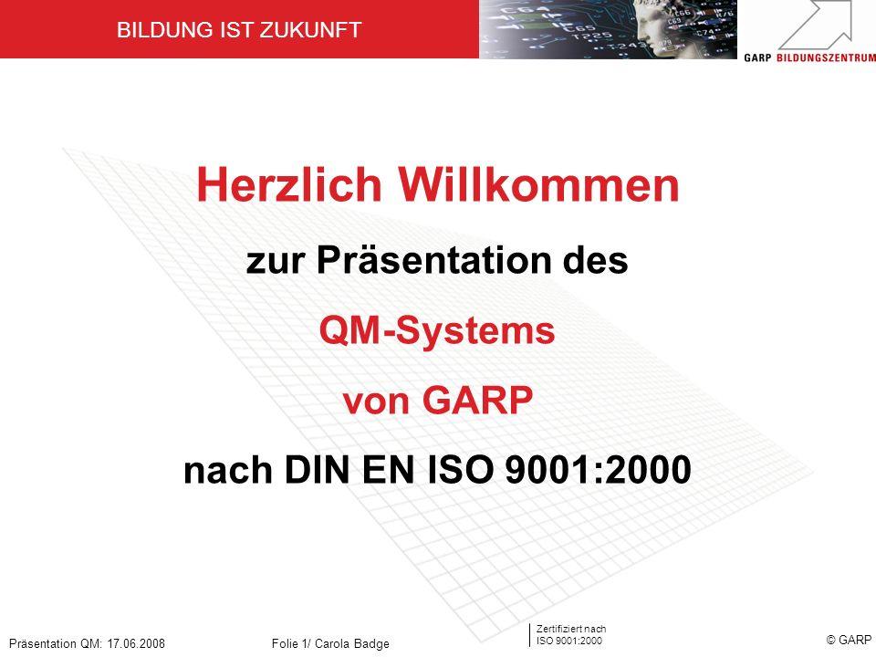 Herzlich Willkommen zur Präsentation des QM-Systems von GARP