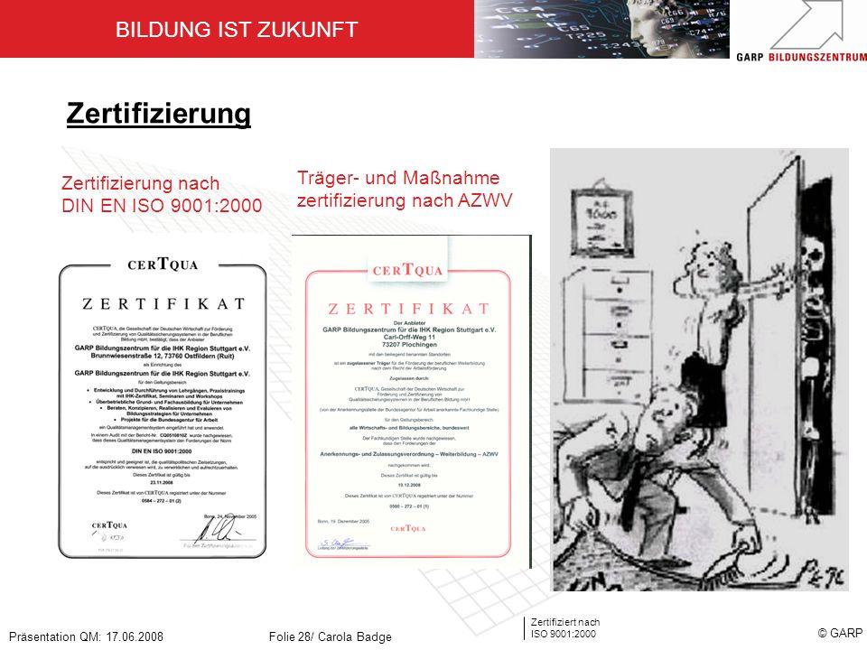 Zertifizierung Träger- und Maßnahme zertifizierung nach AZWV