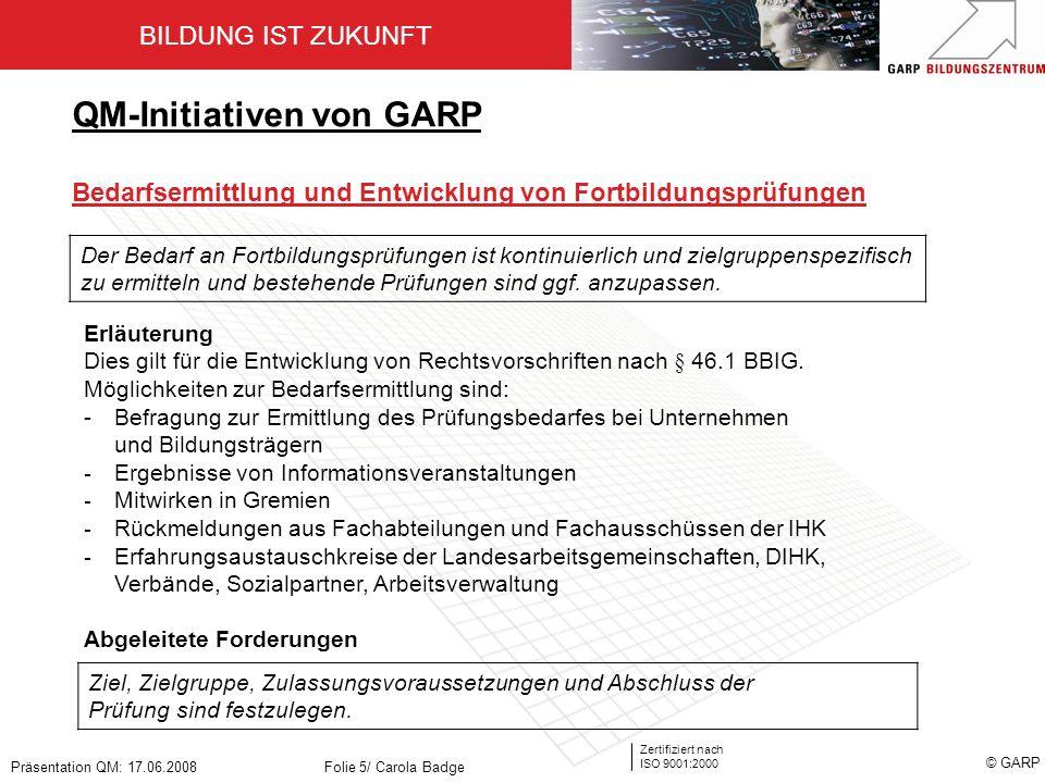 QM-Initiativen von GARP