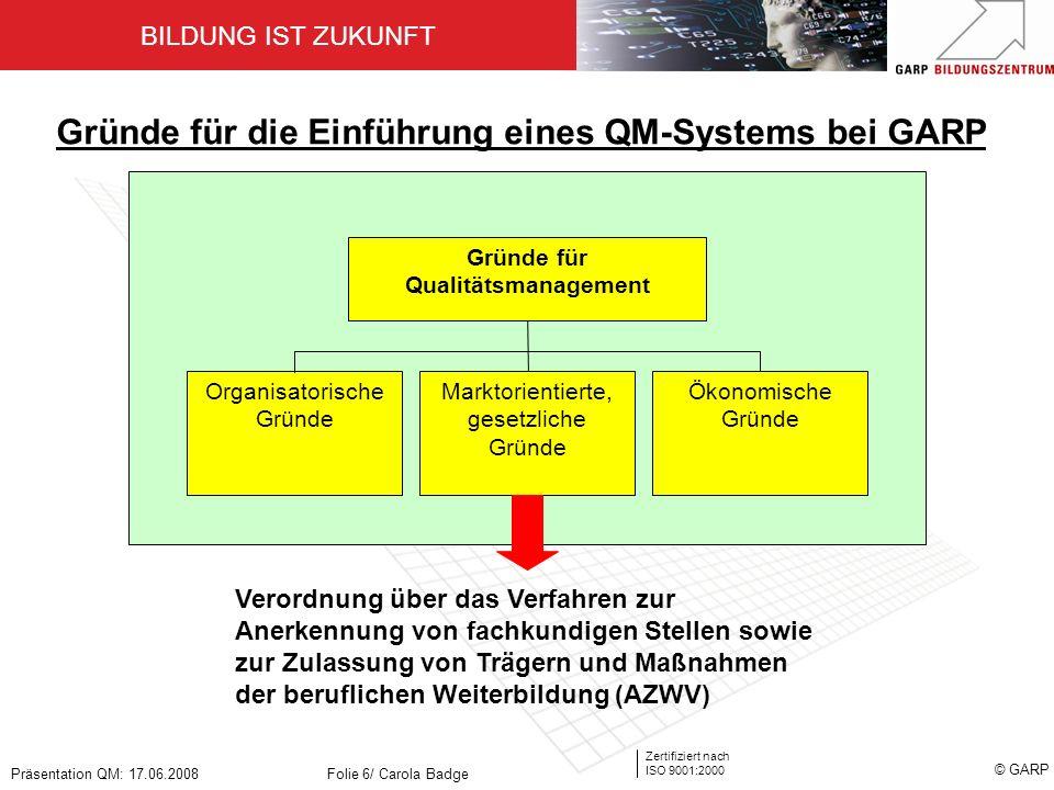 Gründe für Qualitätsmanagement