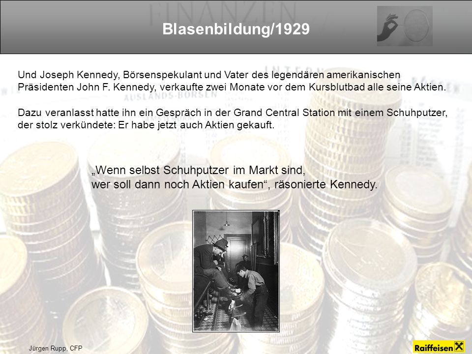 """Blasenbildung/1929 """"Wenn selbst Schuhputzer im Markt sind,"""