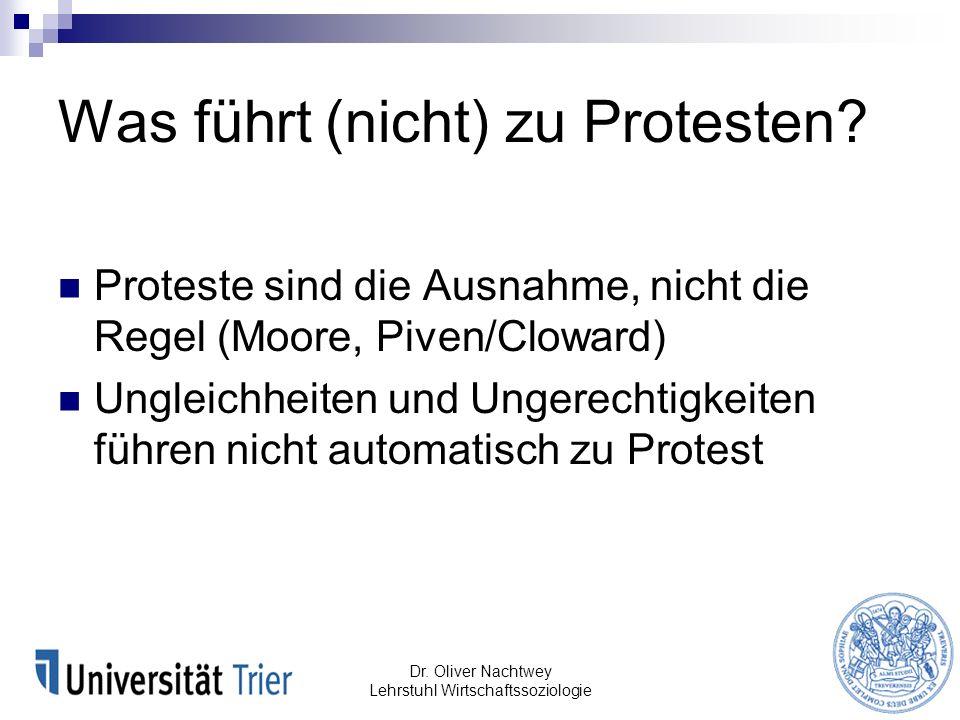 Was führt (nicht) zu Protesten