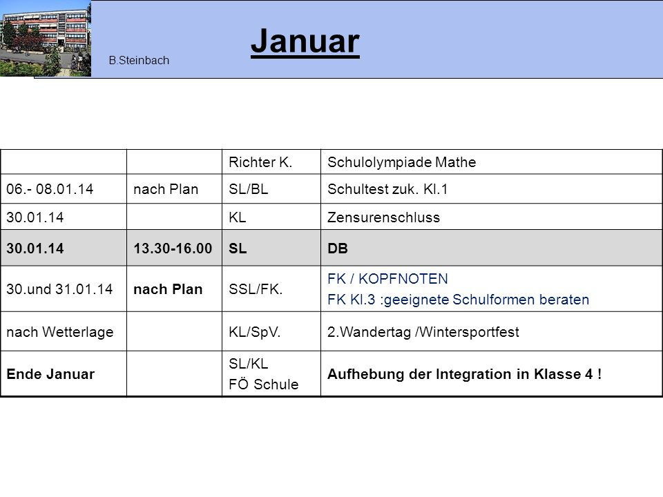 Januar Richter K. Schulolympiade Mathe 06.- 08.01.14 nach Plan SL/BL