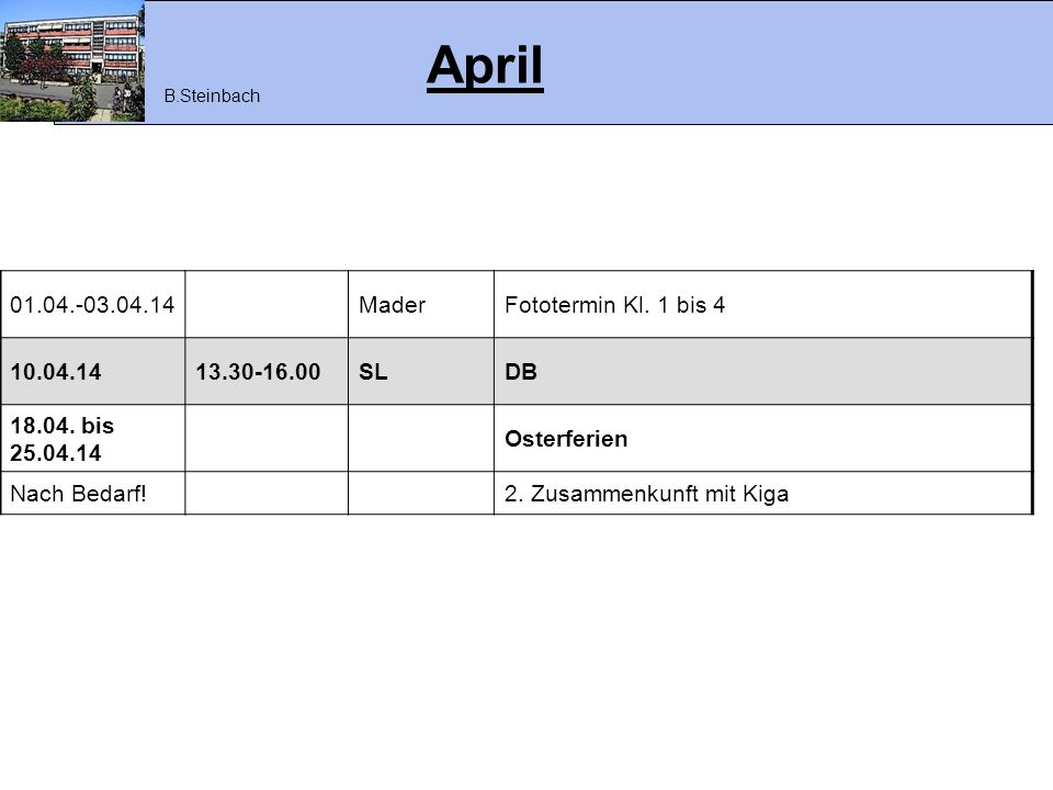 April 01.04.-03.04.14 Mader Fototermin Kl. 1 bis 4 10.04.14