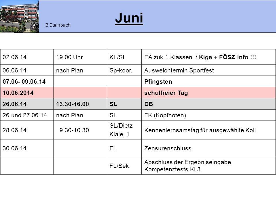 Juni 02.06.14 19.00 Uhr KL/SL EA zuk.1.Klassen / Kiga + FÖSZ Info !!!