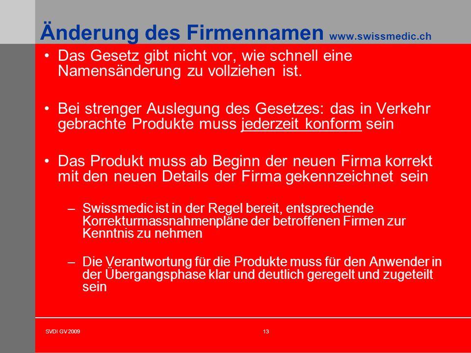 Änderung des Firmennamen www.swissmedic.ch
