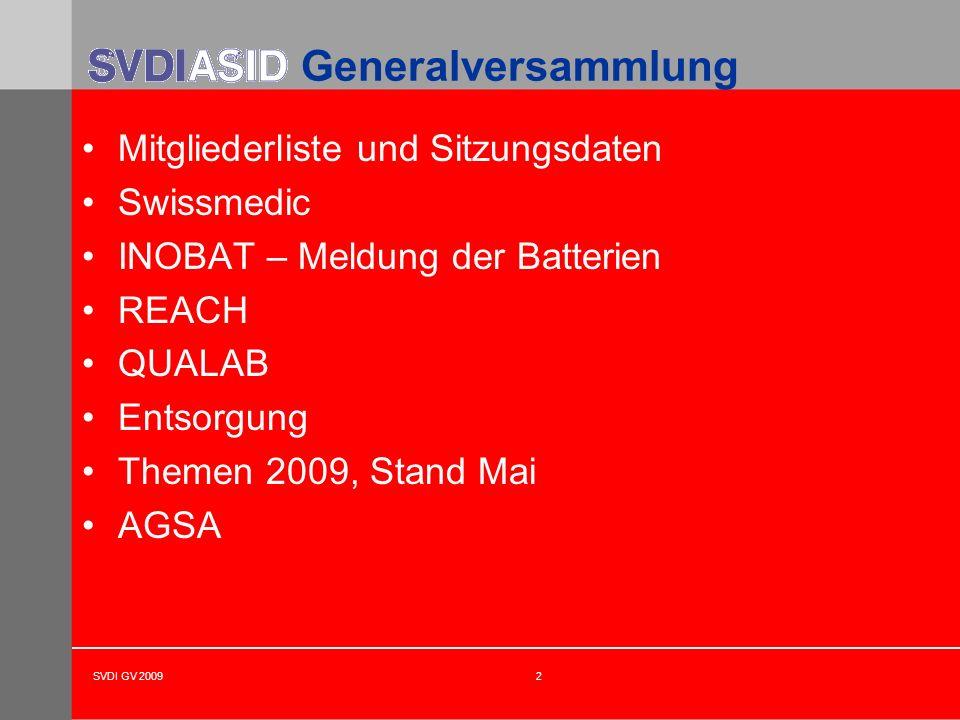 Generalversammlung Mitgliederliste und Sitzungsdaten Swissmedic