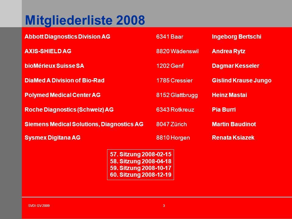 Mitgliederliste 2008 Abbott Diagnostics Division AG 6341 Baar