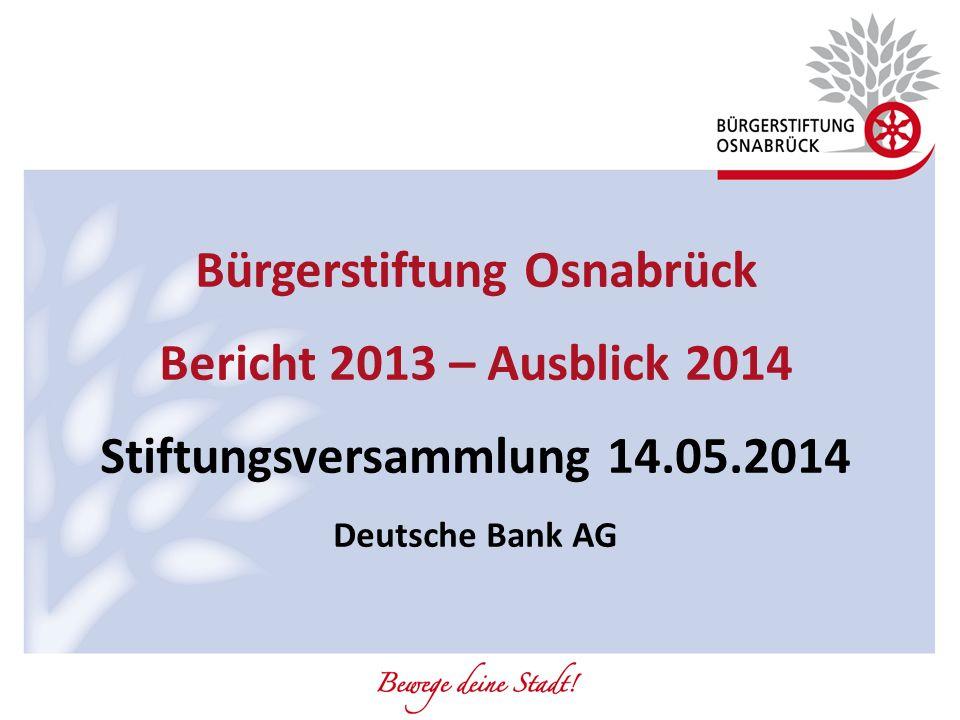 Bürgerstiftung Osnabrück Stiftungsversammlung 14.05.2014