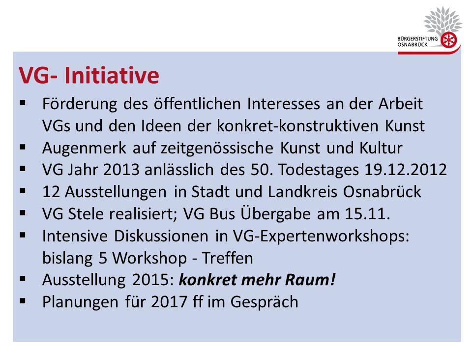 VG- Initiative Förderung des öffentlichen Interesses an der Arbeit VGs und den Ideen der konkret-konstruktiven Kunst.