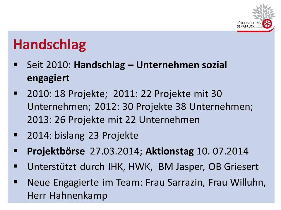 Handschlag Seit 2010: Handschlag – Unternehmen sozial engagiert