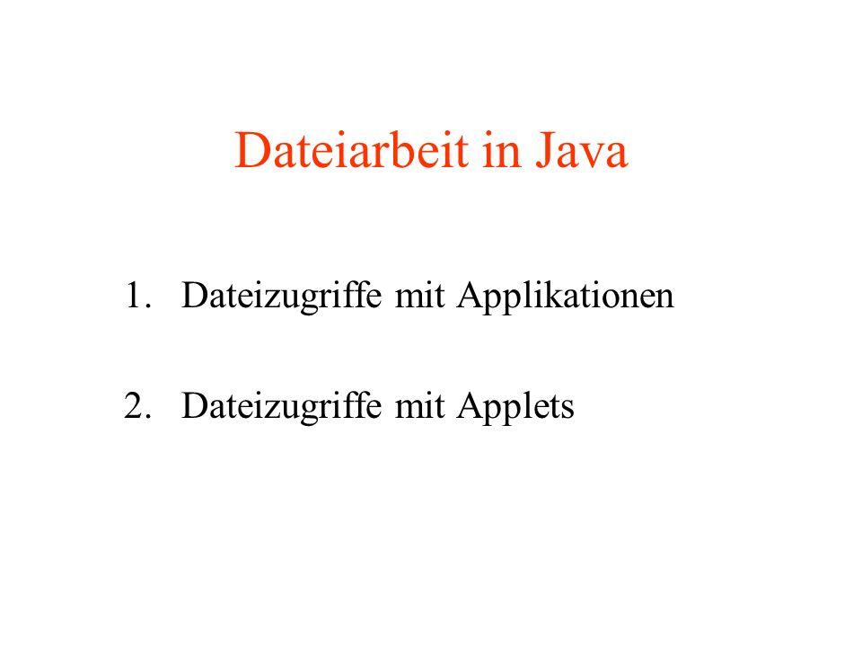 Dateizugriffe mit Applikationen 2. Dateizugriffe mit Applets