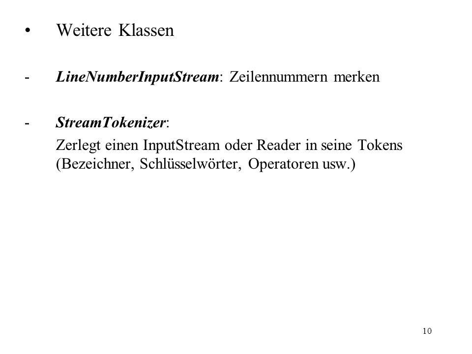 Weitere Klassen LineNumberInputStream: Zeilennummern merken