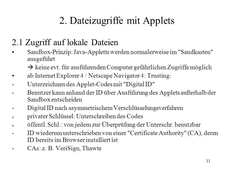 2. Dateizugriffe mit Applets