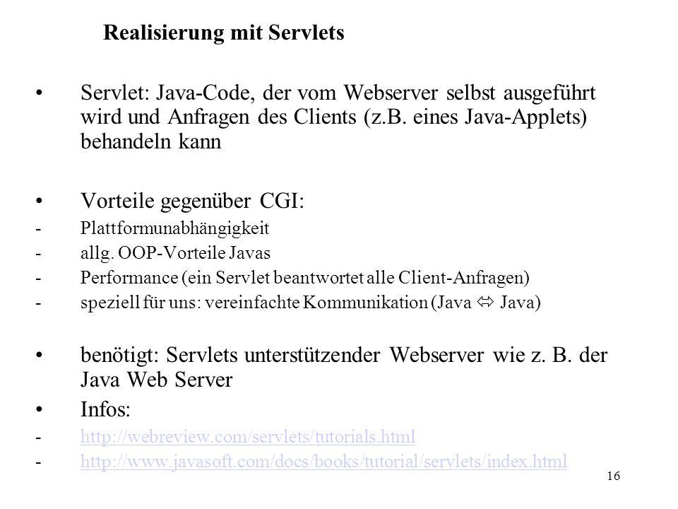 Realisierung mit Servlets