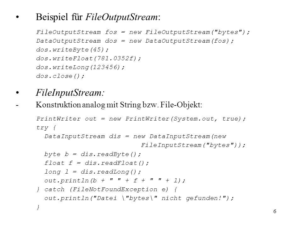 Beispiel für FileOutputStream: