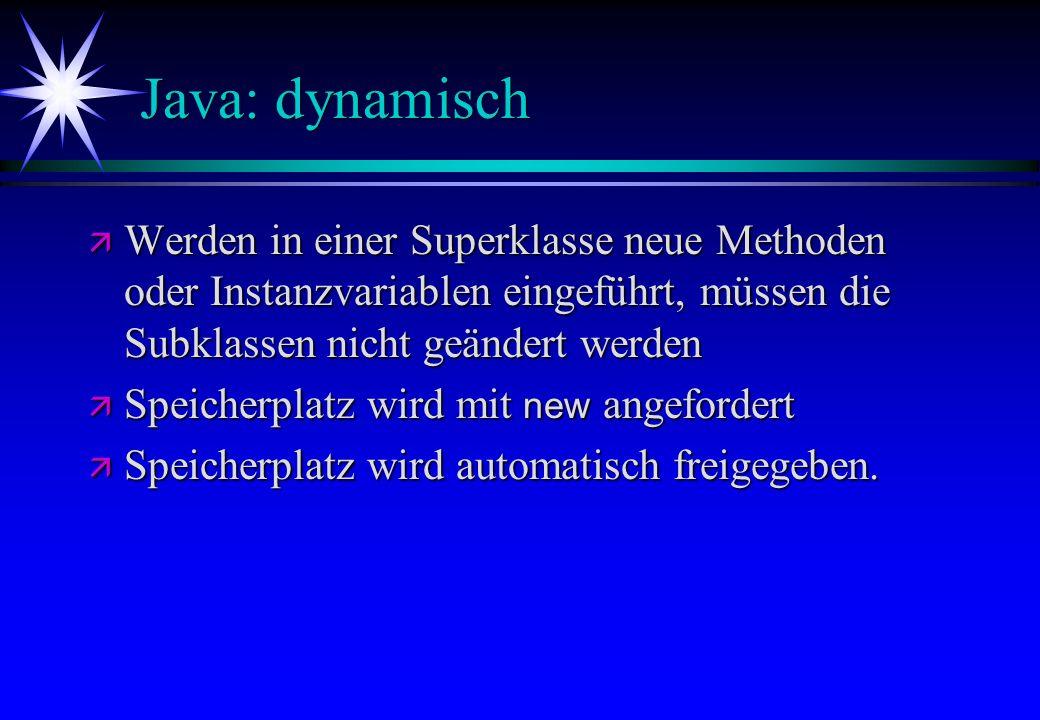Java: dynamisch Werden in einer Superklasse neue Methoden oder Instanzvariablen eingeführt, müssen die Subklassen nicht geändert werden.