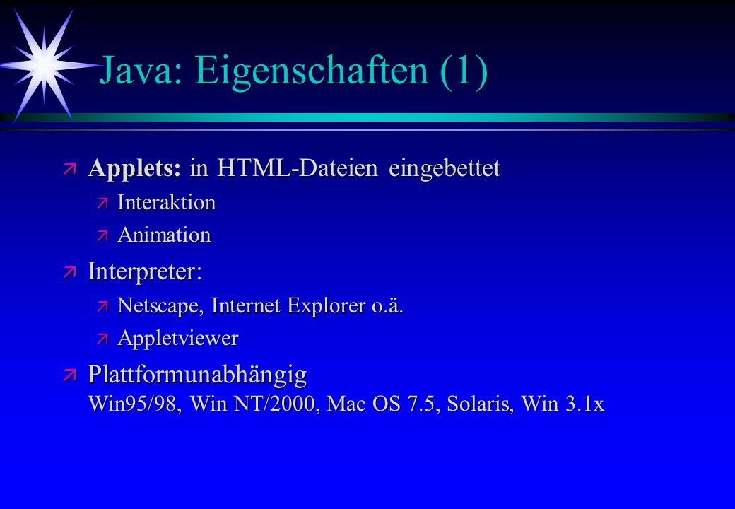 Java: Eigenschaften (1)
