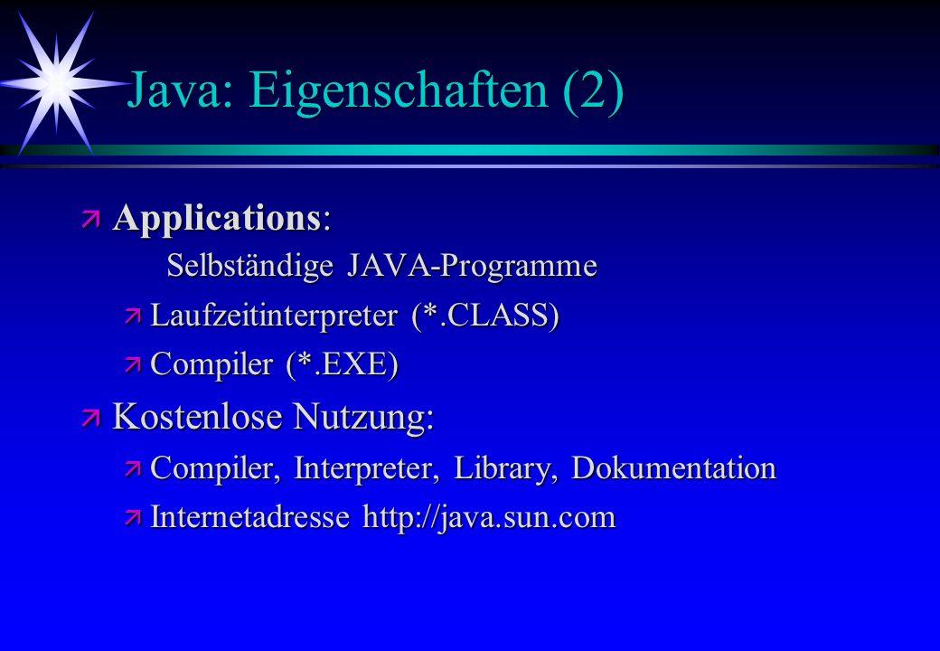 Java: Eigenschaften (2)