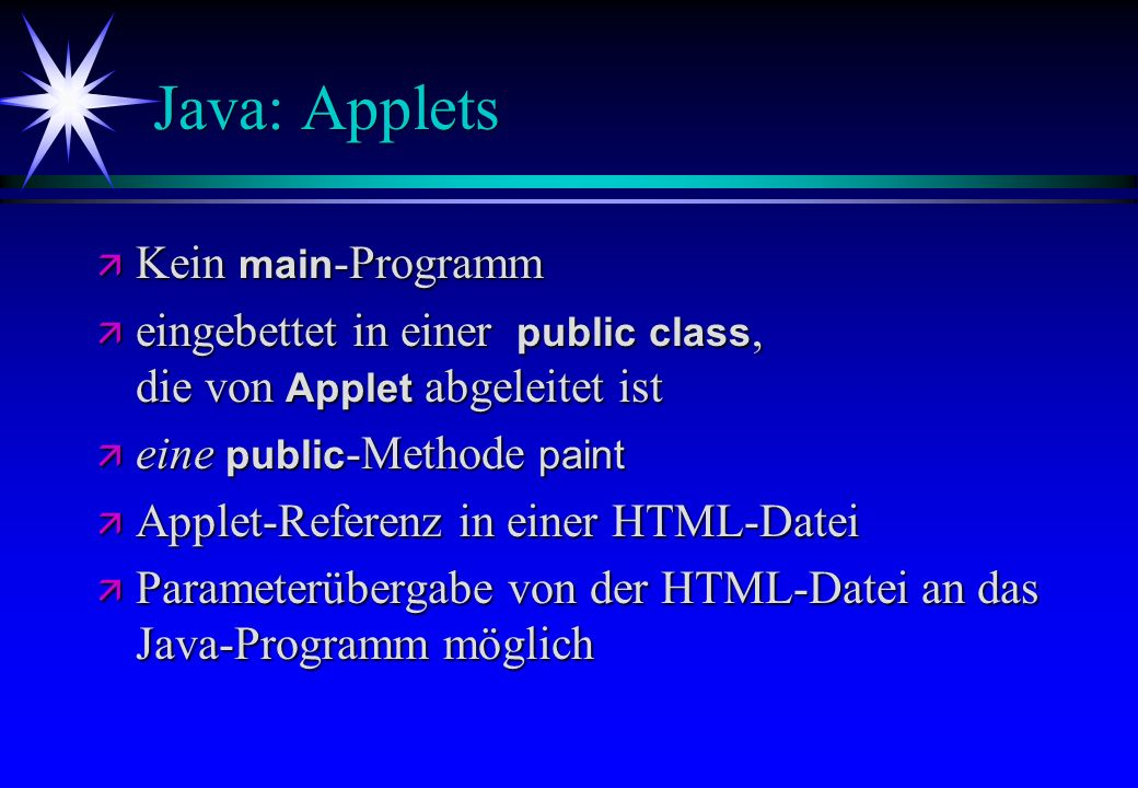 Java: Applets Kein main-Programm