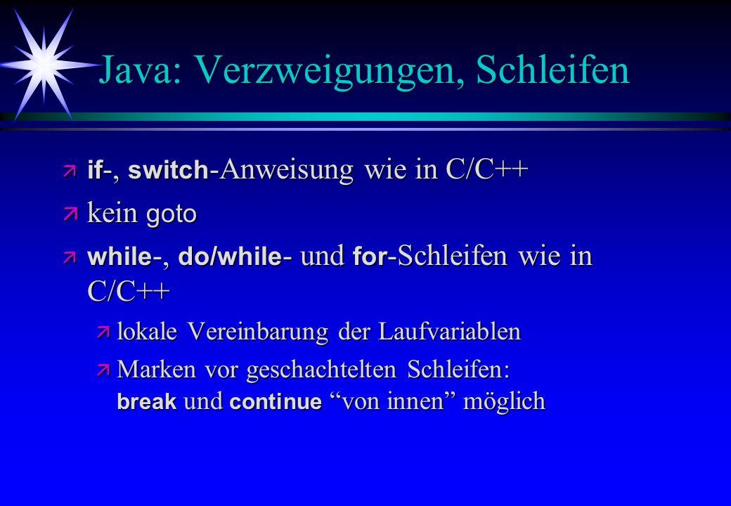 Java: Verzweigungen, Schleifen