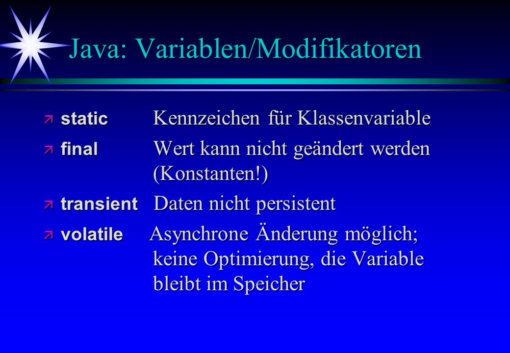 Java: Variablen/Modifikatoren