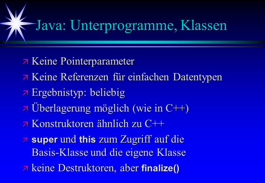 Java: Unterprogramme, Klassen
