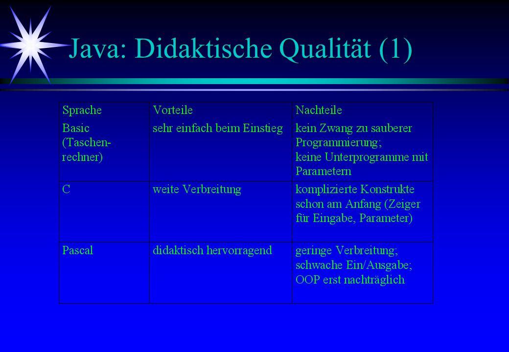 Java: Didaktische Qualität (1)