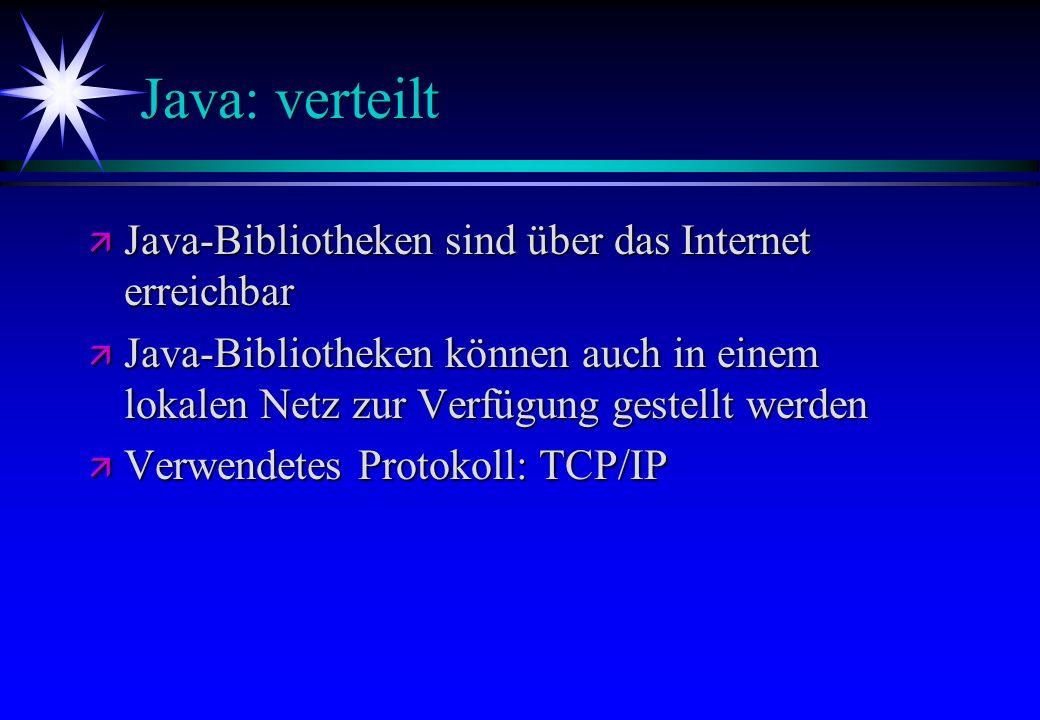 Java: verteilt Java-Bibliotheken sind über das Internet erreichbar
