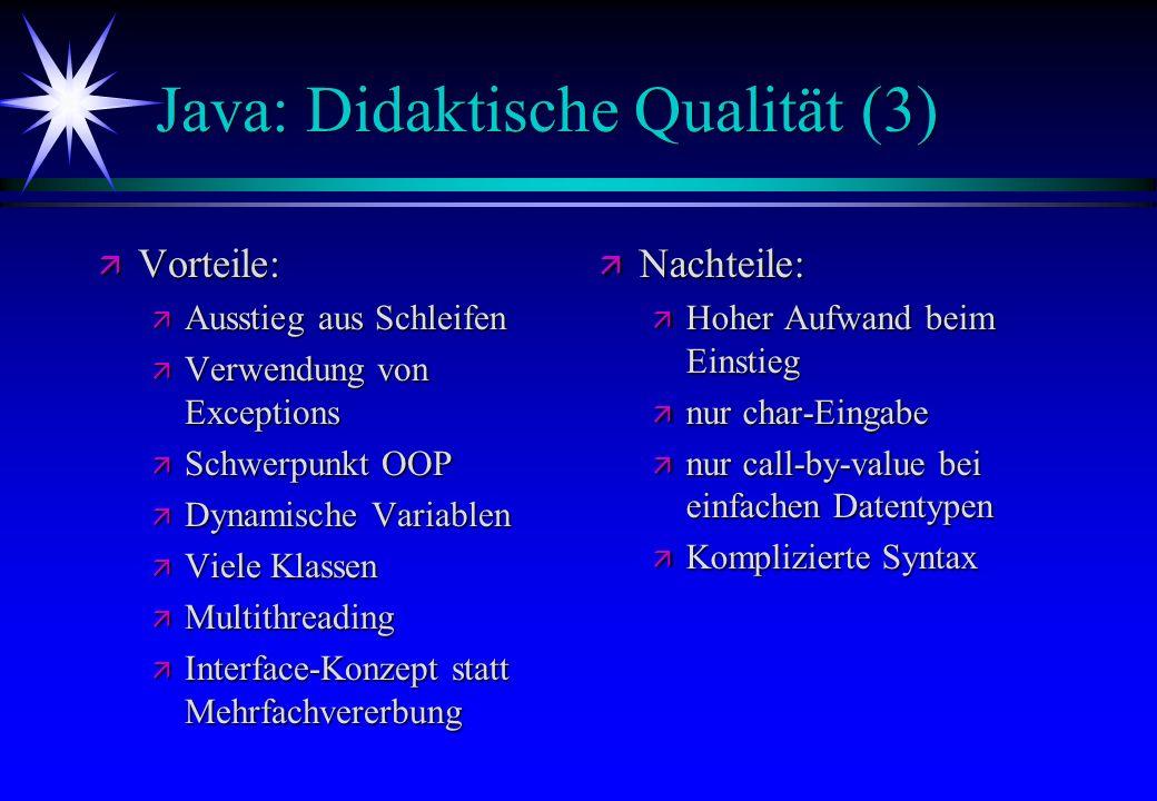 Java: Didaktische Qualität (3)