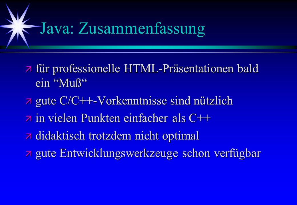Java: Zusammenfassung